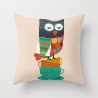 budi Throw Pillows featuring Morning Owl by Picomodi