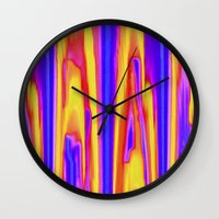tie dye Wall Clocks featuring Tie Dye Sky by Vikki Salmela