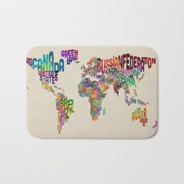 Typography Text Map of the World Bath Mat