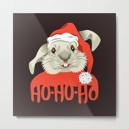 The Christmas Rabbit Metal Print