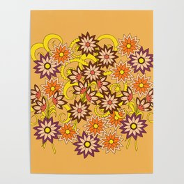 yellow floral pattern in boho style Poster