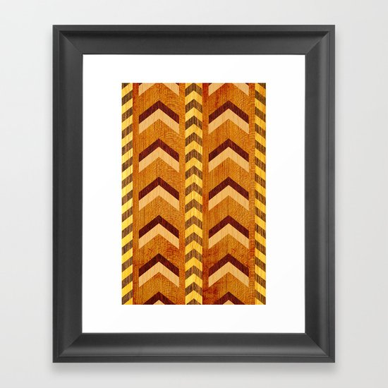 Wood Inlaid Chevrons Framed Art Print