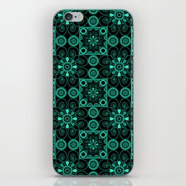 Retro . Black turquoise ornament . iPhone Skin