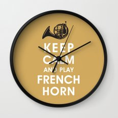 Keep Calm and Play French Horn Wall Clock
