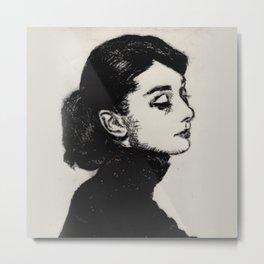 Audrey Hepburn Drypoint Metal Print