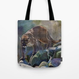 The Mountain King - Cougar Wildlife Art Tote Bag
