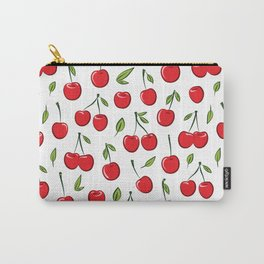 Cheerful cherry pattern. Colorful cherries on white Carry-All Pouch