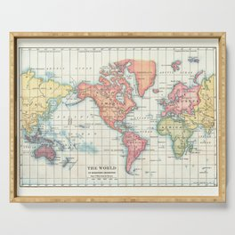 World Map - Colorful Continents Serving Tray