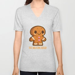 The Walking Bread Funny Gingerbread Pun Unisex V-Neck