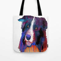 border collie Tote Bags featuring Border Collie by Marlene Watson