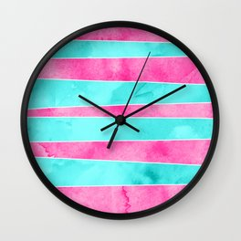Turquoise pink hand drawn watercolor stripes Wall Clock