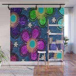 Glitter Flowers Wall Mural