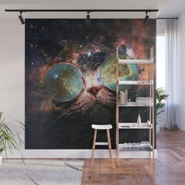 Cool Space Cat with Telescope Glasses in space Wall Mural