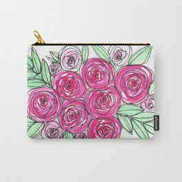 Watercolor Pink Rose Bouquet Carry-All Pouch