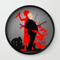 hitchcock Wall Clocks featuring Hitchcock by Matias G. Martinez