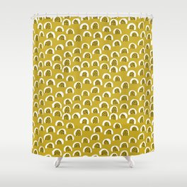 Sunny Melon love abstract brush paint strokes yellow ochre Shower Curtain