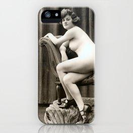 Vintage Nude Art Studies No. 61 Lady On Chaise Longue iPhone Case