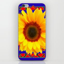 WESTERN BLUE-RED YELLOW SUNFLOWER FLORAL ART iPhone Skin