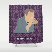 greg guillemin Shower Curtains featuring The Sign of Three - Greg Lestrade by MacGuffin Designs