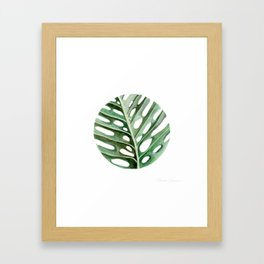 Circular Monstera Leaf Painting Framed Art Print