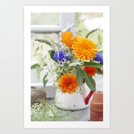 Natural flowers at the window Art Print