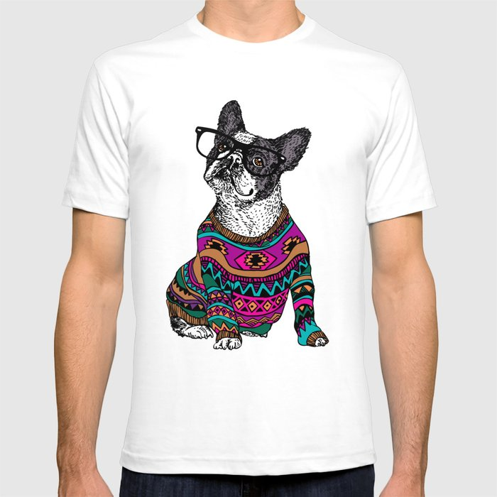 hipster frenchie t shirt by huebucket society6. Black Bedroom Furniture Sets. Home Design Ideas