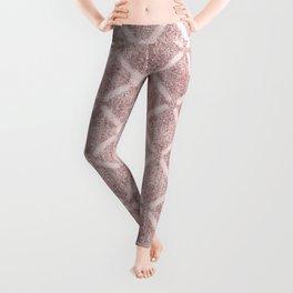 Faux Velvet Dusty Pink and Cream Lattice Pattern Leggings