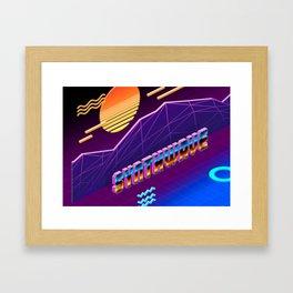 Isometric Synthwave: Sunset Framed Art Print