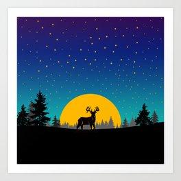 Deer Moon Art Print