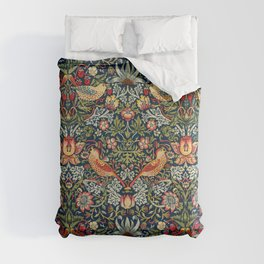 Strawberry Thief by William Morris 1883 Antique Vintage Pattern CC0 Spring Summer Comforters