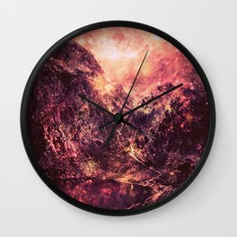 Galaxy Mountains : Mauve Burgundy Wall Clock