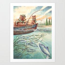 Bears Fishing Art Print