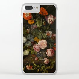 """Cornelis Kick """"A still life with parrot tulips, poppies, roses, snow balls, and other flowers"""" Clear iPhone Case"""