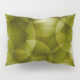Dark intersecting translucent olive circles in bright colors with an oily glow. Pillow Sham