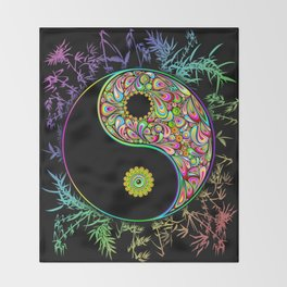Yin Yang Bamboo Psychedelic Throw Blanket