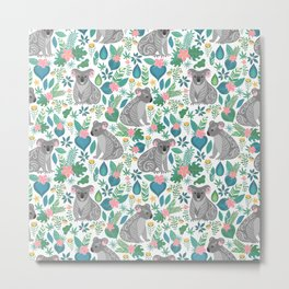 Cute gray koalas with ornaments, tropical flowers and leaves. Seamless tropical pattern. Metal Print