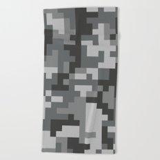 Grey Urban Pixel Camo pattern Beach Towel