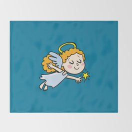 angel girl show a star Throw Blanket