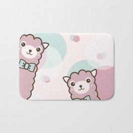 Pink Cute Llama Bath Mat