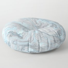 Ice Blue and Gray Marble Floor Pillow