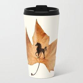 Horse on a dried leaf Travel Mug
