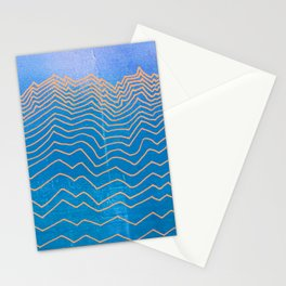Abstract mountain line art in blue sky grunge textured vintage illustration background Stationery Cards