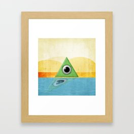 Green Triangle Monster Framed Art Print