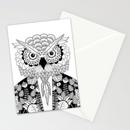 Portrait of a middle age owl wearing a vintage jacket Stationery Cards