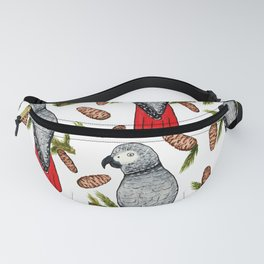 African Grey on a Fir Branch in Watercolor Fanny Pack
