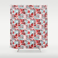 watch Shower Curtains featuring Neighborhood Watch by Denny Schmickle