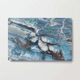 Turquoise Blue Marble Metal Print