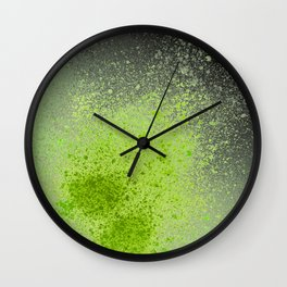 Neon Green and Black Spray Paint Splatter Wall Clock