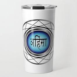 AHIMSA- non violence- typography in hindi means peace in Hindu,Buddhist and Jain Travel Mug