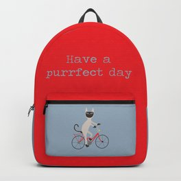 Siamese cat on bicycle Backpack